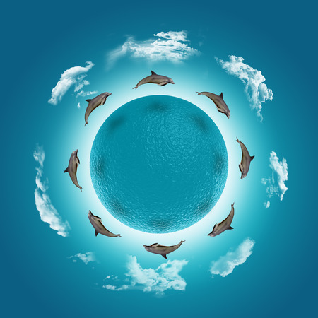 watery: 3D render of a watery globe with jumping dolphins and clouds