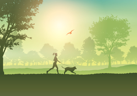 dog run: Silhouette of a female jogging with her dog in the countryside