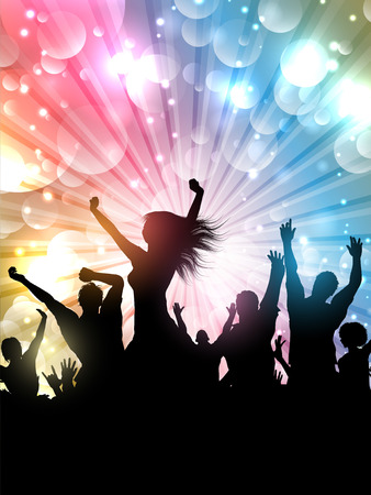abstract dance: Silhouette of a party crowd on a starburst background Stock Photo