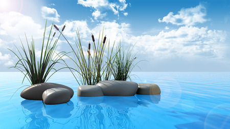reed: 3D render of rocks and reeds on a blue water surface