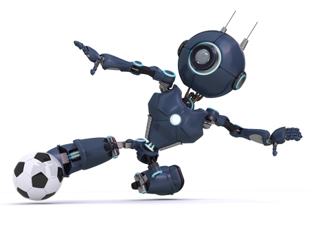 3D Render of an Android playing football photo