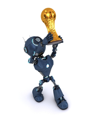 3D Render of an Android lifting football trophy