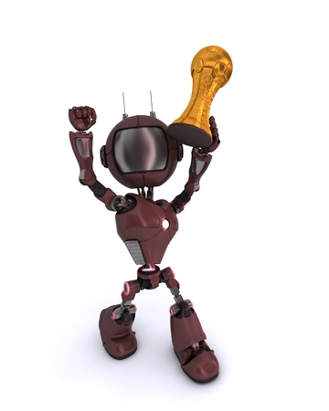 3D Render of an Android lifting football trophy photo