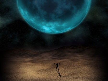 desert storm: Silhouette of a man stood beneath a surreal planet
