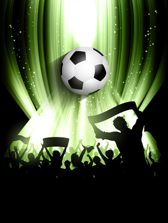 supporters: Football background with a silhouette of a crowd of supporters