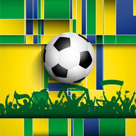 Football  soccer crowd on an abstract background using Brazil flag colours Vector