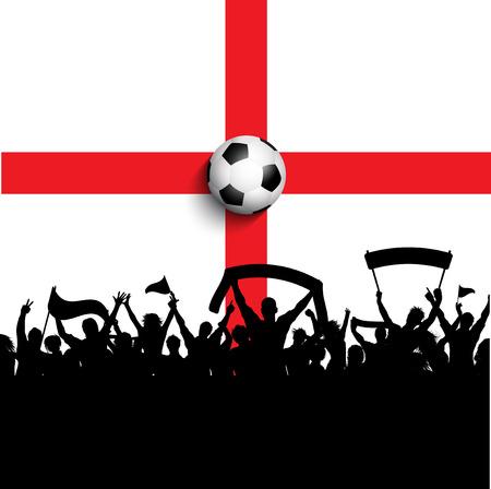 bandera inglaterra: Silueta de los partidarios del balompi�  de f�tbol en bandera de Inglaterra
