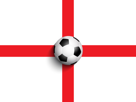 bandera inglaterra: Bola del balompi�  de f�tbol sobre un fondo de la bandera de Inglaterra
