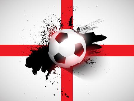 bandera inglaterra: F�tbol  f�tbol en un fondo de la bandera del grunge Inglaterra Vectores