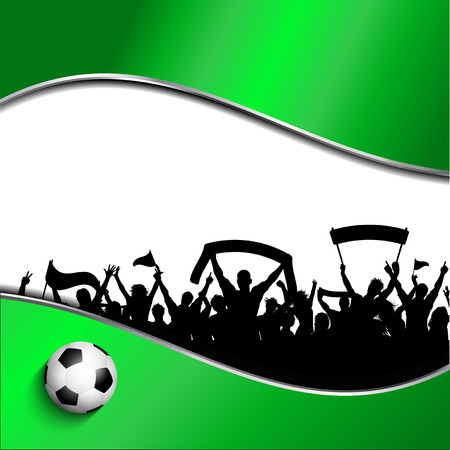football fan: Silhouette of a group of football supporters