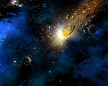 meteorites: Space scene background with fictional planets and blazing meteorites