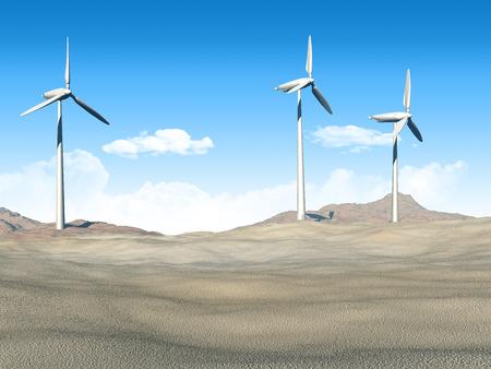 3D render of wind turbines in a desert scene photo