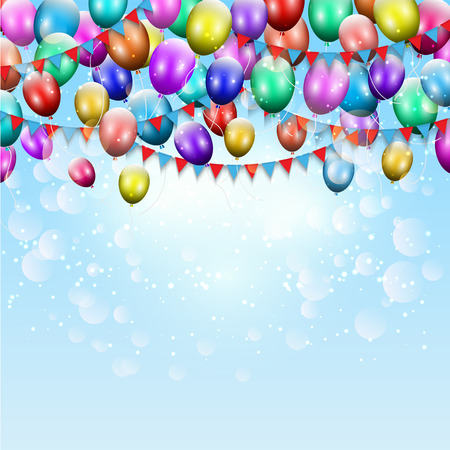 party background: Celebration background with balloons and bunting Stock Photo