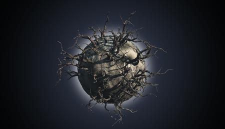 arboles secos: 3D render de un planeta abstracto cubierto de árboles muertos en una escena del espacio
