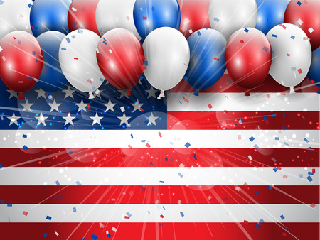 4th of july: Independence Day 4th July celebration background with balloons and confetti