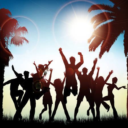 dancing silhouette: Silhouettes of people dancing on a tropical background Stock Photo
