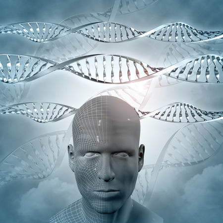 dna strand: 3D medical background with DNA strands and male face Stock Photo