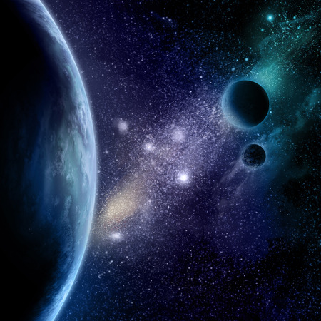starfield: Abstract space background with stars, starfield and fictional planets