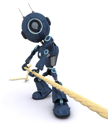 3D Render of an Android pullling on a rope photo