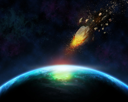 Space scene background with blazing meteorite about to hit a fictional planet Stock Photo