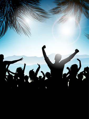 beach party: Silhouette of a party crowd on a summer background