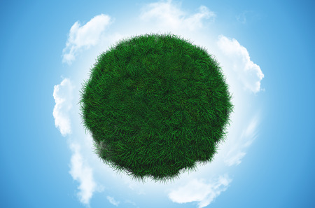 3D render of a grassy globe with clouds