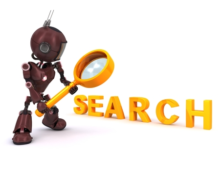 3D Render of an Android searching with magnifying glass photo