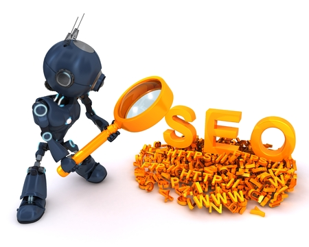 optimisation: 3D Render of an Android search engine optimisation Stock Photo