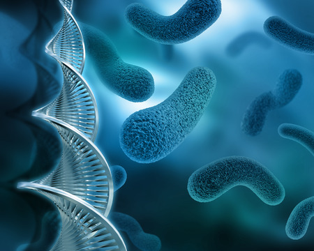 3D background with virus and DNA strands Stok Fotoğraf