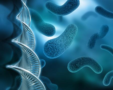 3D background with virus and DNA strands Standard-Bild