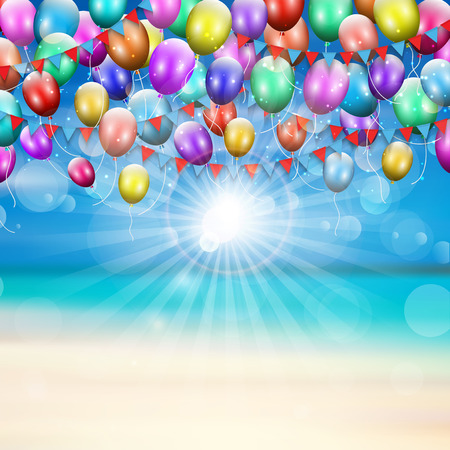 summer beach party: Balloons and pennants on a summer beach background