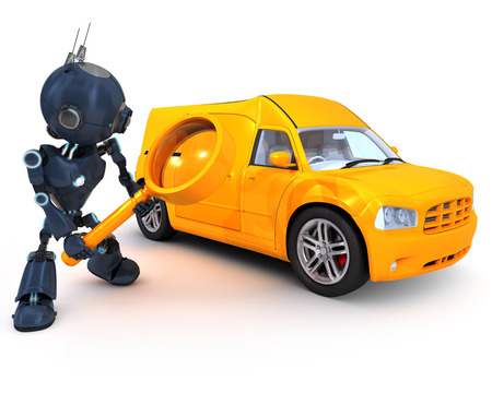 3D Render of a robot searching for a van photo