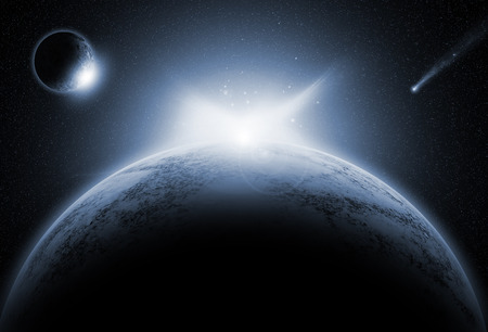 fictional: Space background with fictional planets Stock Photo