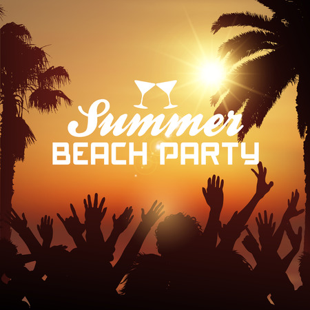 sunny beach: Silhouette of a party crowd on a tropical summer background