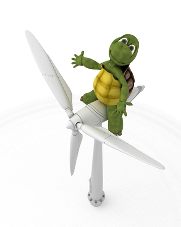 3D render of a tortoise with wind turbine photo