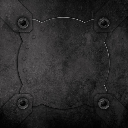 Abstract background with a grunge metal effect with screws and rivets