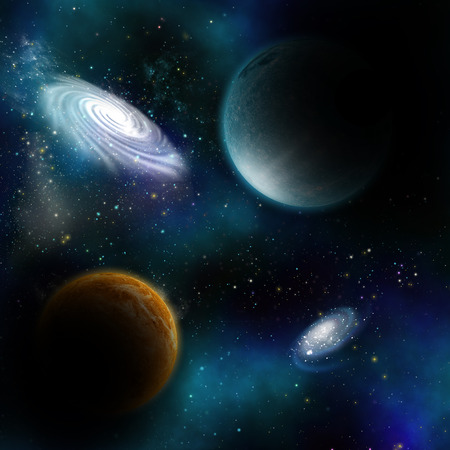 fictional: Space background with fictional planets and galaxys