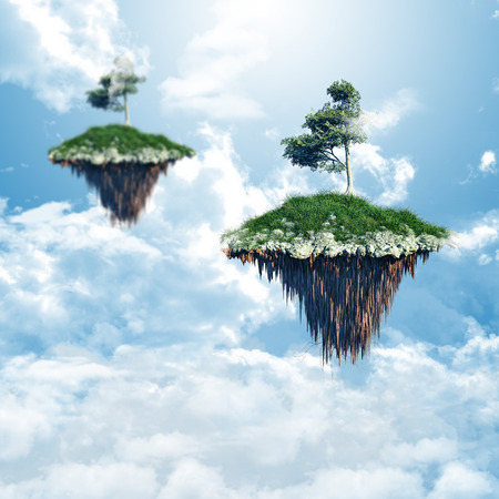 floating island: 3D render of floating islands in the clouds Stock Photo
