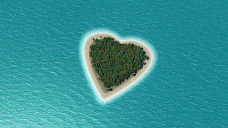 3D render of a heart shaped island in the ocean with palm trees photo
