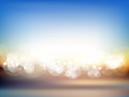 summer background: Abstract summer landscape background with blurred lights Stock Photo
