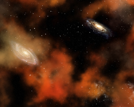 galaxies: Abstract space background with nebula, stars and galaxies Stock Photo