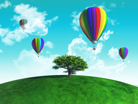 grassy: 3D render of hot air balloons in the sky above a tree on a grassy globe Stock Photo