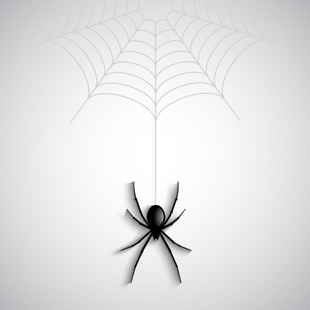 dangling: Halloween background with spider dangling from a cobweb