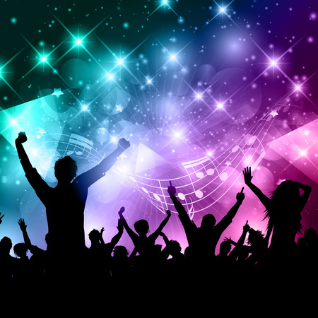youngsters: Silhouette of a party crowd on an abstract background with music notes