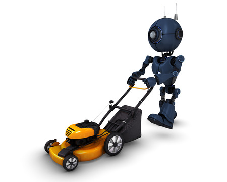 3D Render of an Android with lawn mower photo