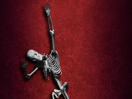 Grunge style halloween background with skeleton Stock Photo