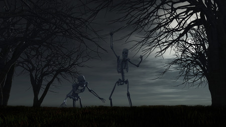 spooky graveyard: 3D render of a Halloween background with spooky skeletons
