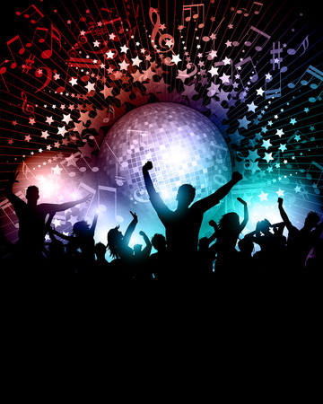 disco girls: Party crowd background with music notes and mirror ball