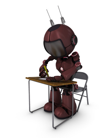 3D Render of an Android at school desk photo