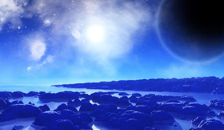 alien landscape: 3D rendering di uno sfondo spazio immaginario con il paesaggio alieno